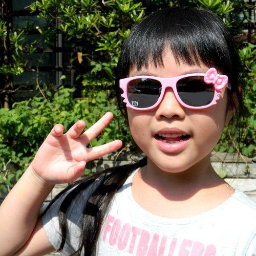 Hawk eyes一級光學抗UV400太陽眼鏡-K018a圓點蝴蝶結1入-粉紅