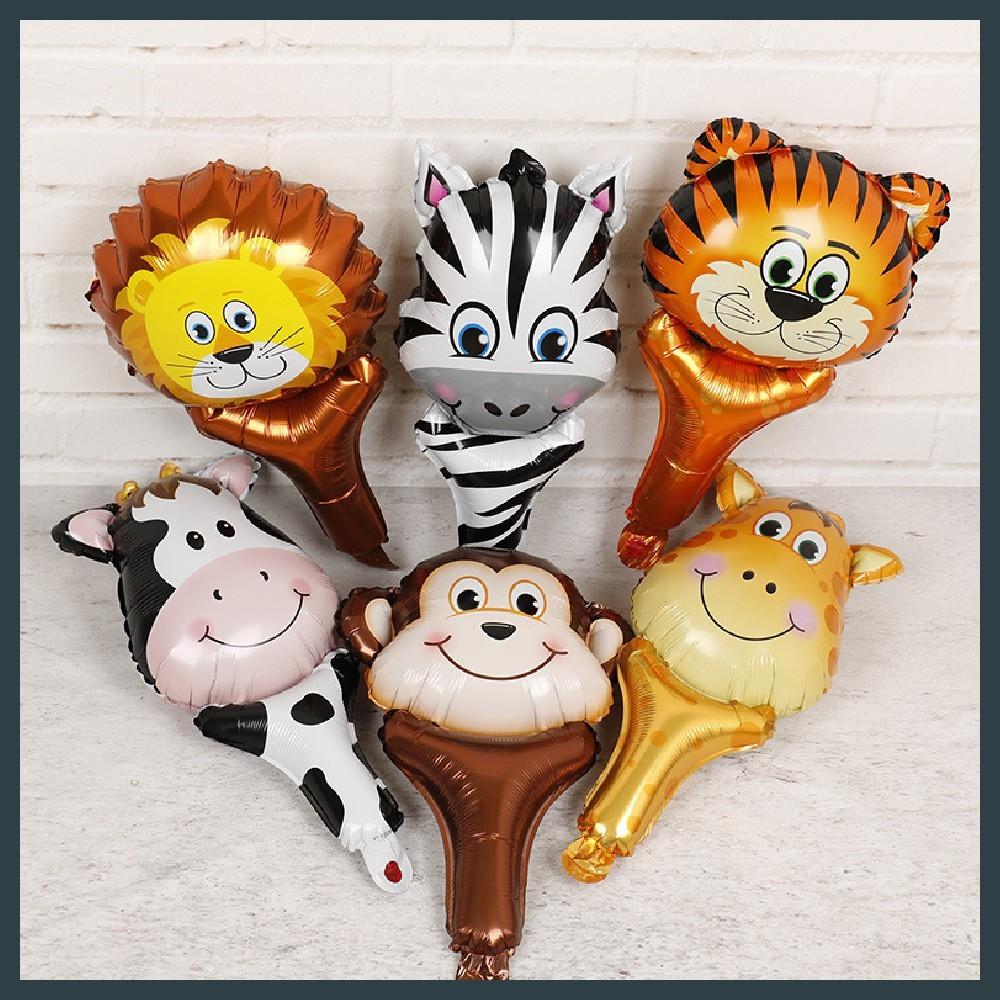 現貨手持氣球棒 動物造型 手持 玩具充氣 斑馬 猴子 獅子 老虎 長頸鹿 乳牛氣球快易