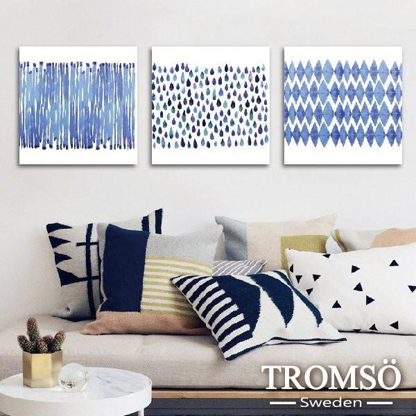 tromso 時尚無框畫-w204簡單水生活40x40/三幅一組插畫藍色簡約雨滴線條水彩