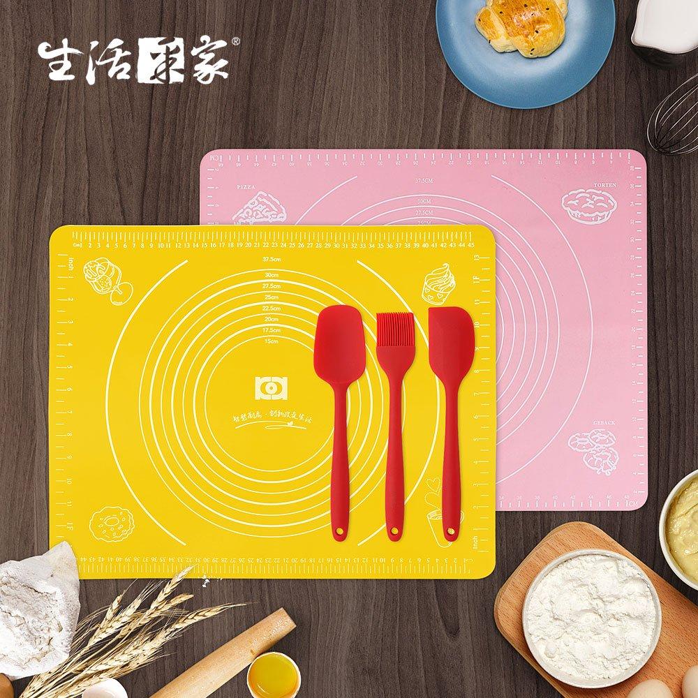 【生活采家】烘焙助手揉麵攪拌五件組(矽膠墊2入+大號調理3件組)#99419