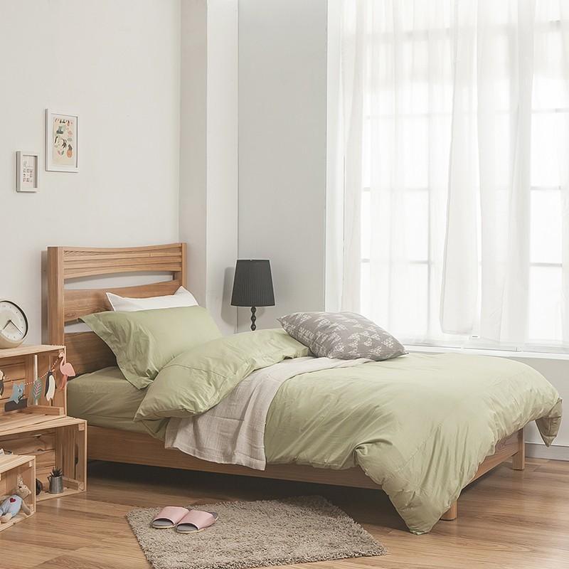 戀家小舖100%精梳棉 素色-果綠 雙人加大床包被套組 含枕套  簡單生活 台灣製