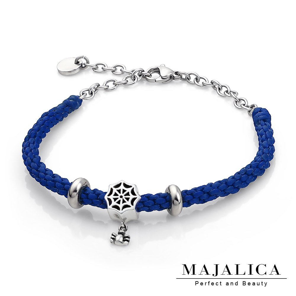 Majalica 925純銀 編織情網 編織蠟繩手鍊-藍色