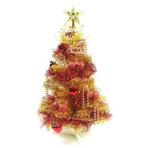摩達客-台灣製繽紛2呎(60cm)金色金箔聖誕樹+裝飾組(紅蘋果純金色系) (不含燈) (本島免運費)