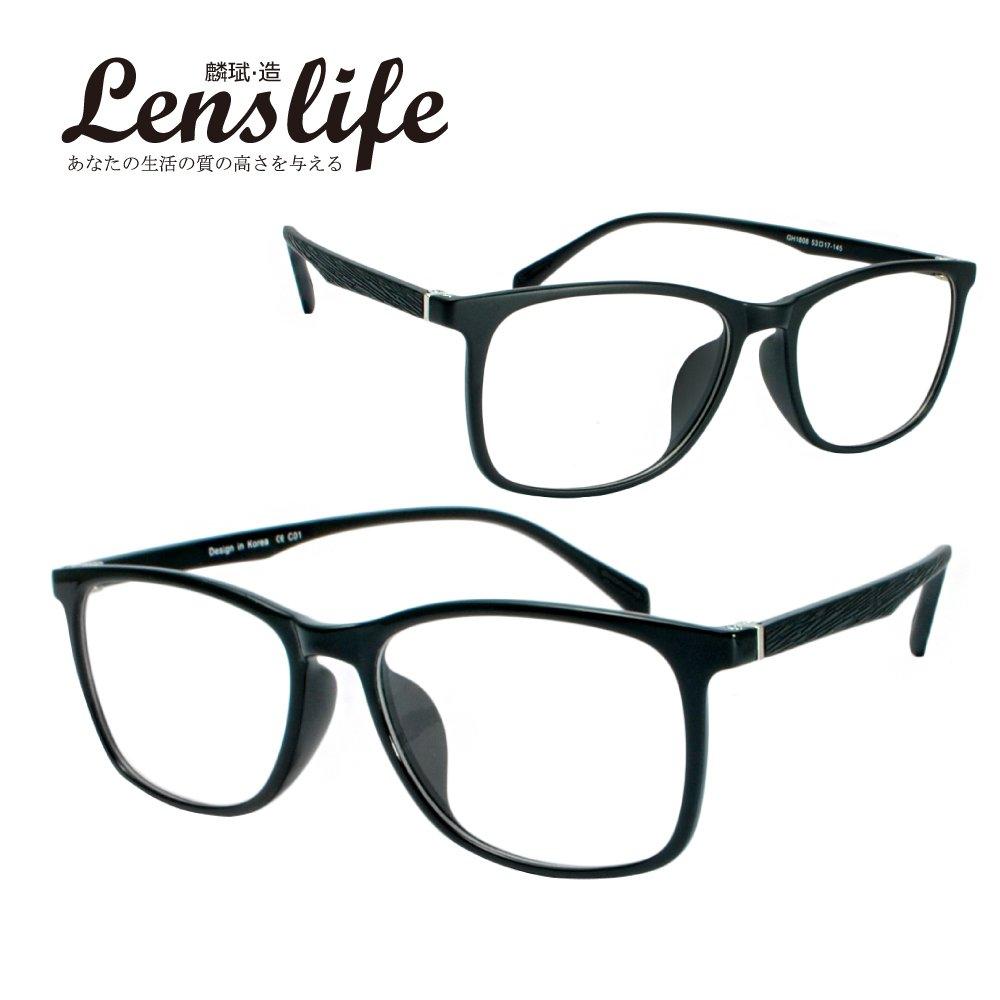 【麟武-造】TR90光學仿木光學眼鏡-方框(亮黑/霧黑 #1808)