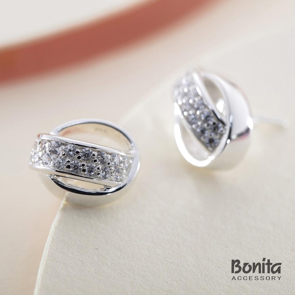 Bonita寬鑽叉圈純銀耳針耳環