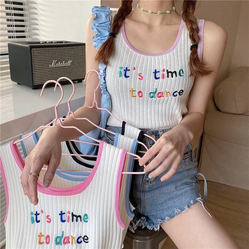 [嬌戀主角]網紅甜美撞色字母刺繡針織小可愛背心女夏外穿百搭合身顯瘦無袖上衣