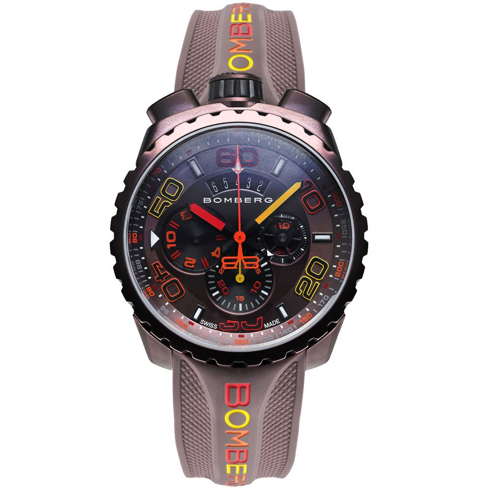 BOMBERG【炸彈錶】BOLT-68 系列 雪茄色霓虹計時碼錶 | 錶徑45mm | BS45CHPBR.049-4.3