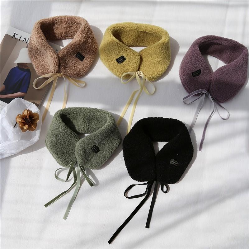 秋冬季女新款可愛仿羊羔絨圍脖chic短圍巾加厚假領子保暖耳罩1入