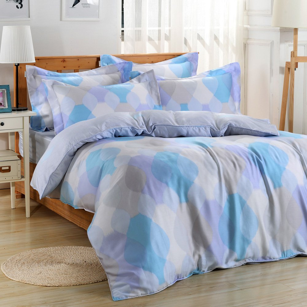 【Betrise蓮憶情池】環保印染德國防螨抗菌100%天絲四件式兩用被床包組-雙人