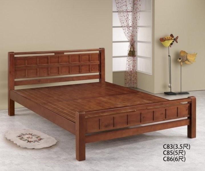 新精品gh-c85 方格樟木色_5尺實木床架 (不含其他商品) 台中以北搭配車趟免運費