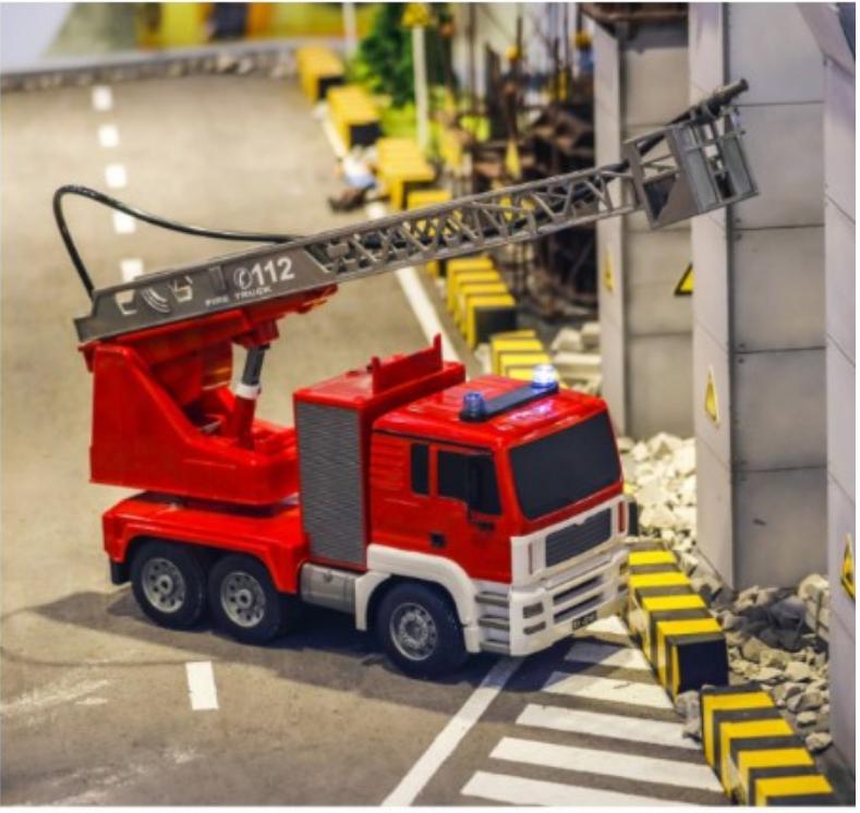 一件免運 雙鷹遙控消防車電動升降雲梯兒童男孩玩具模型5大號噴水3-6歲禮物 - 中號雲梯手動消防車