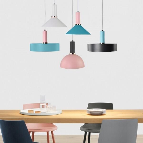 18park-精品館吊燈 [燈座-14cm,燈罩顏色-粉藍色,燈座-藍綠色,燈罩-圓錐]