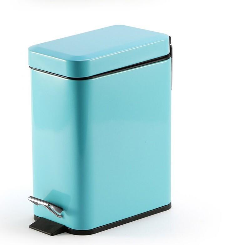 push! 居家生活用品 colourful液壓緩降方型垃圾桶 置物桶 5升藍色i19-1