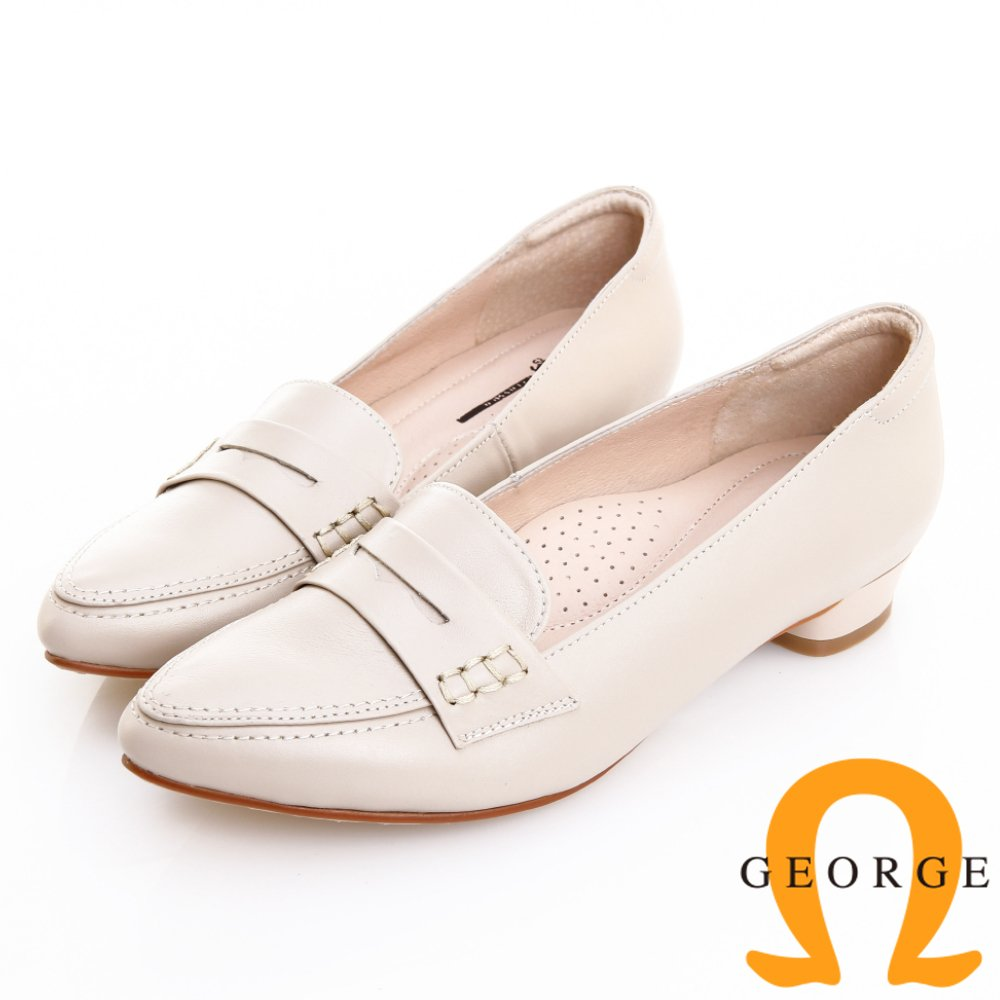 GEORGE 喬治-知性復古柔軟羊皮樂福低跟鞋 -米白 911001CU-F0