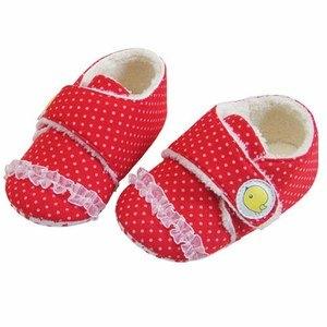 Newstar明日之星 秋冬嬰幼兒學步鞋/嬰兒鞋-魅力紅-絨毛暖呼呼-超軟Q好穿