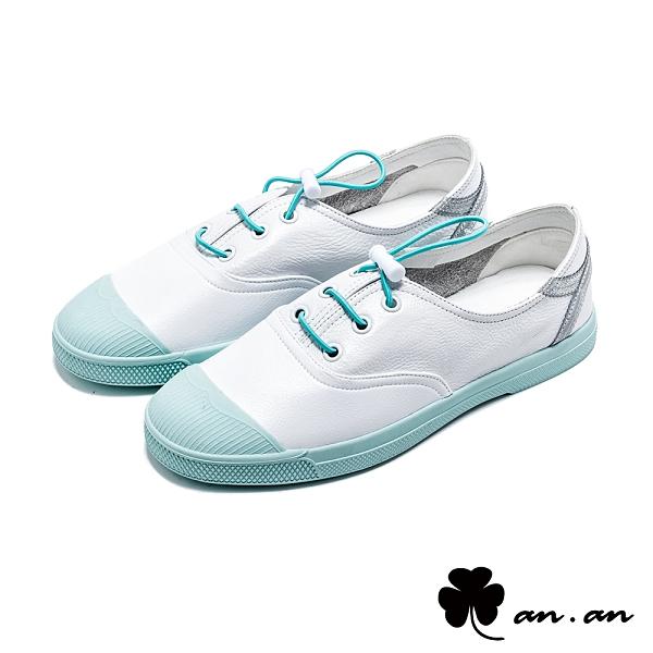 休閒鞋 輕甜柔軟真皮小白鞋(藍)*an.an【18-901b】【現貨】