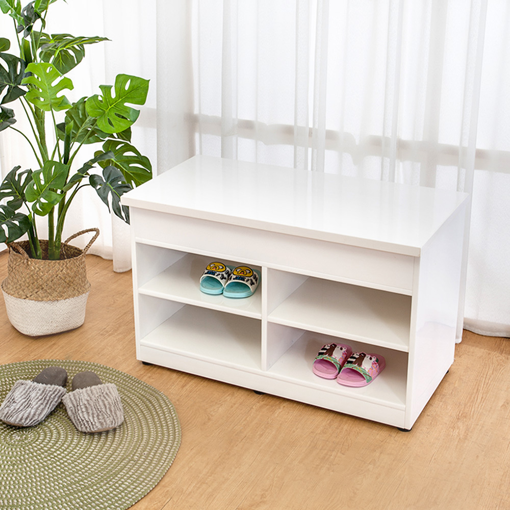 Boden-防潮防蛀 防水塑鋼2.8尺開放式座鞋櫃/穿鞋椅(白色)