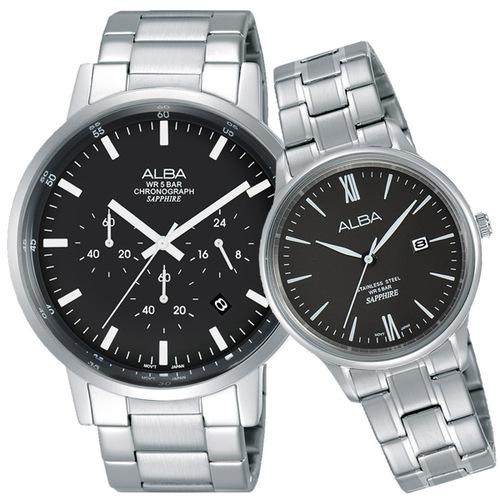 ALBA 雅柏 東京流行三眼時尚對錶(黑/42+30mm) VD53-X296D+VJ22-X267D
