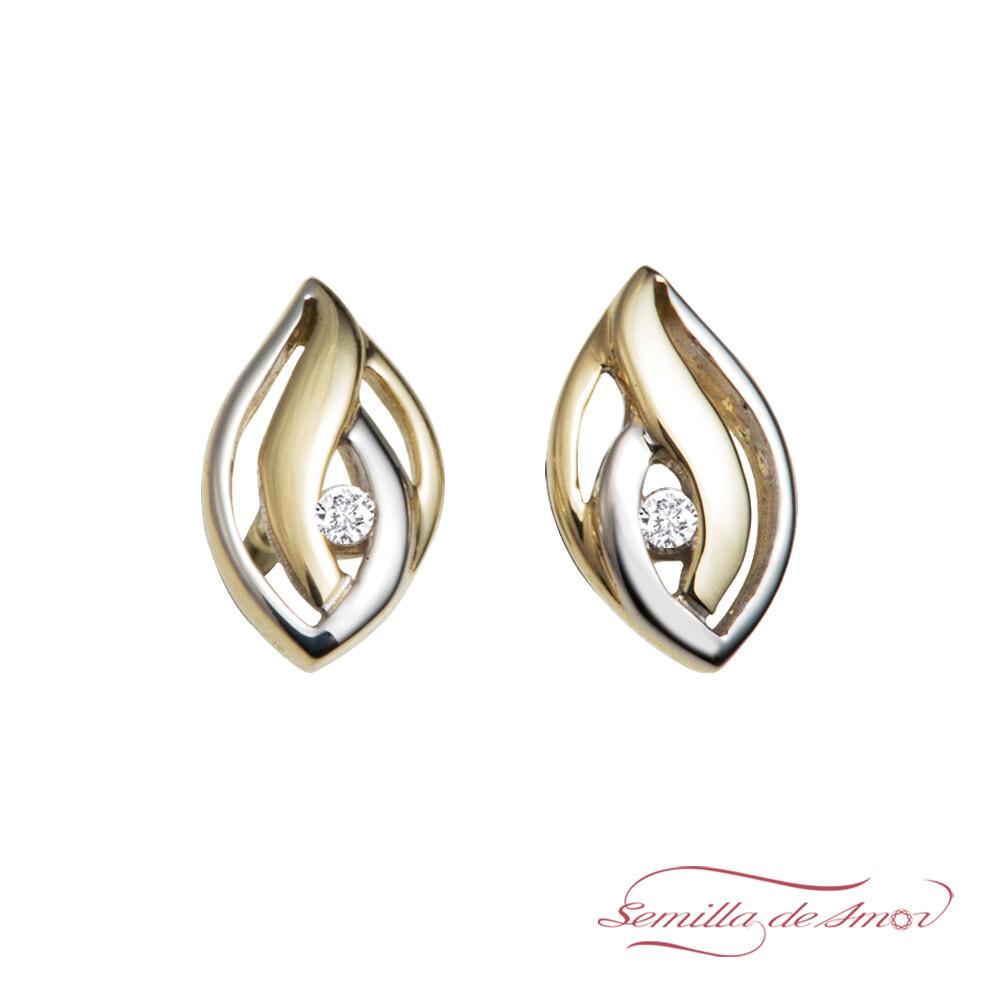 美國semilla de amor迎風閃耀 單鑽雙葉 耳環(14k金 鑲真鑽)