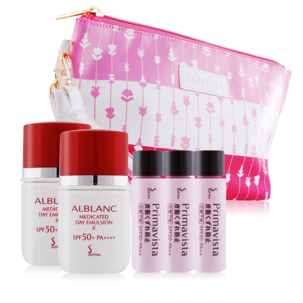 SOFINA 蘇菲娜 妝前修飾乳+UV防護乳贈粉嫩手拿包組