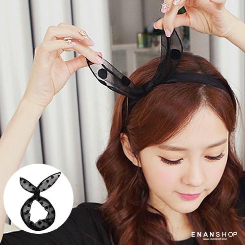 點點網紗髮帶 來自星星的你 全智賢同款 韓國流行 髮圈 髮箍 髮帶 惡南宅急店【0113H】