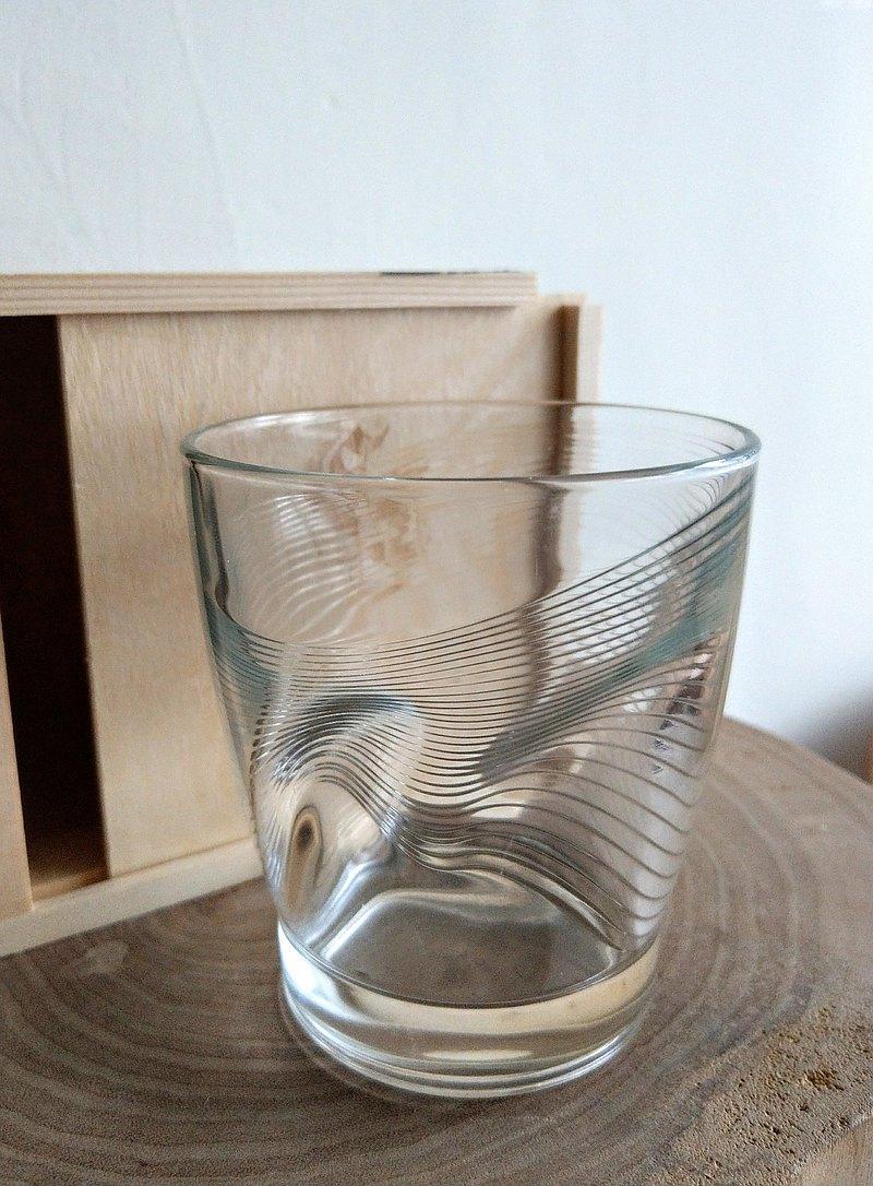 贈限量木盒 義大利Bormioli Rocco酒杯(波浪紋)玻璃刻字客製化