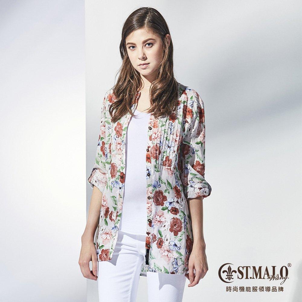 【ST.MALO】漫春綻放100%亞麻襯衫-1751WS-銀灰色