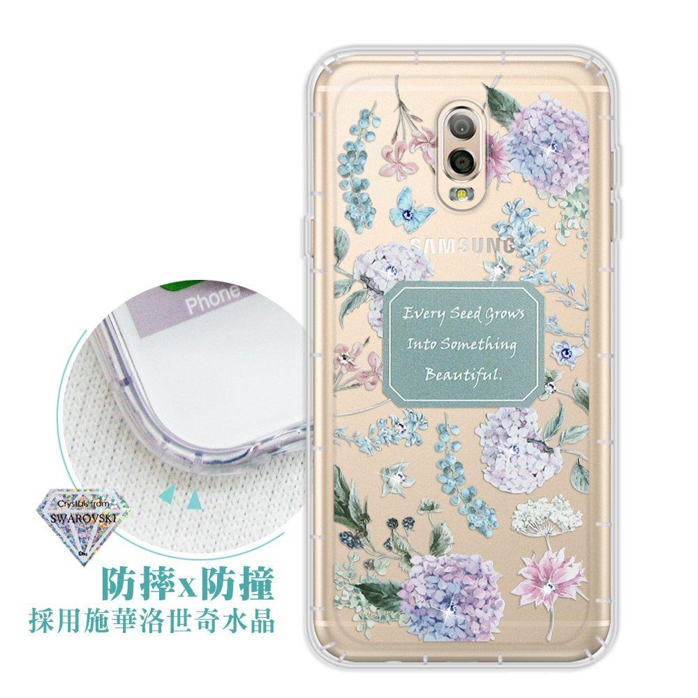 Samsung Galaxy J7+/J7 Plus 浪漫彩繪 水鑽空壓氣墊手機殼(幸福時刻)