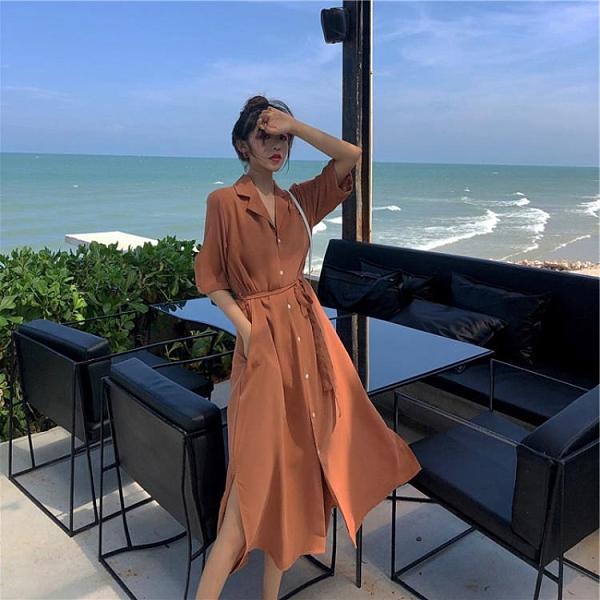 連身裙 襯衫連衣裙女2020新款夏季西裝領氣質女神范衣服收腰顯瘦綁帶裙子
