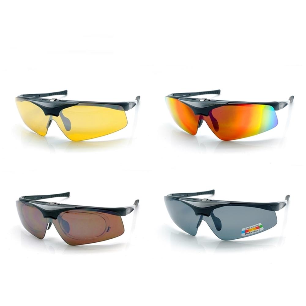 Photoply可掀式大聯盟太陽眼鏡(黑框+寶麗來偏光/抗藍光輻射片/ND2夜視片/防IR片/SO3變色鏡片)