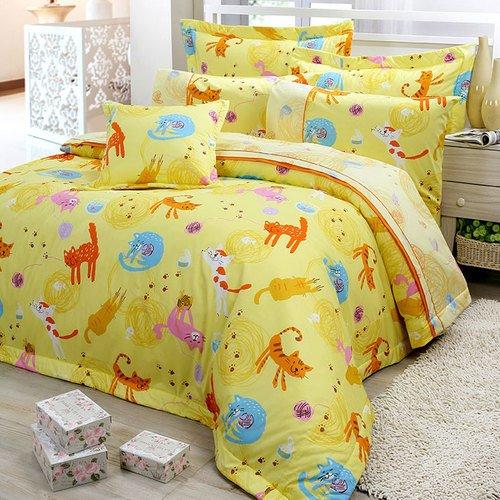 【FITNESS】精梳棉加大四件式被套床包組- 貓線球(黃)