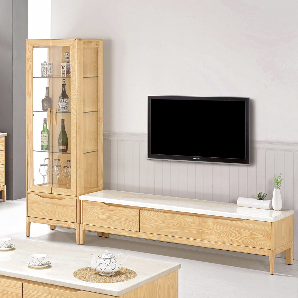 Boden-米倫8尺實木L型石面電視櫃組合(展示櫃+長櫃)