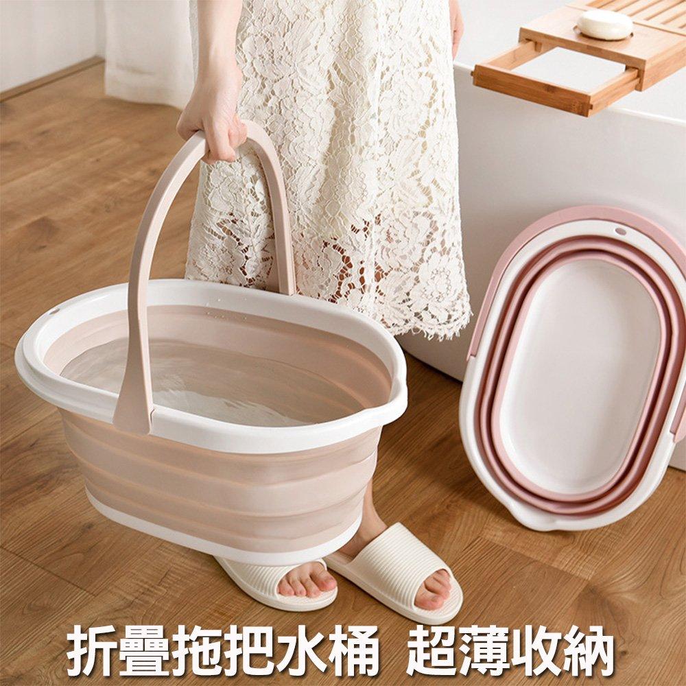 戶外便利伸縮拖把水桶(1入)  露營提水桶 拖把桶