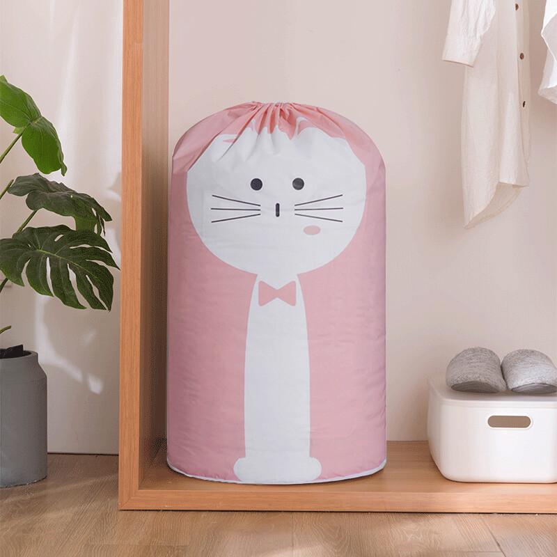 萌物超大容量防水束口收納袋棉被收納筒 -粉色小貓