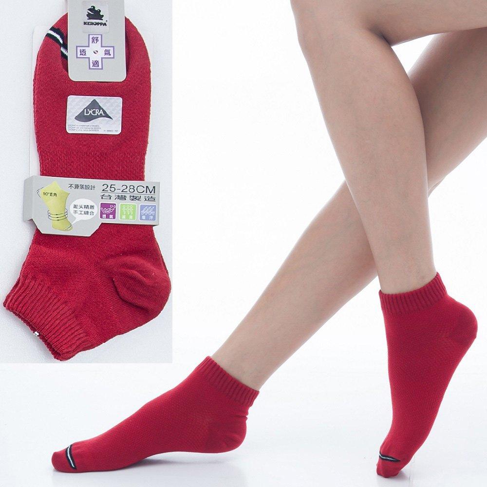 【KEROPPA】可諾帕舒適透氣減臭加大超短襪x紅色兩雙(男女適用)C98005-X