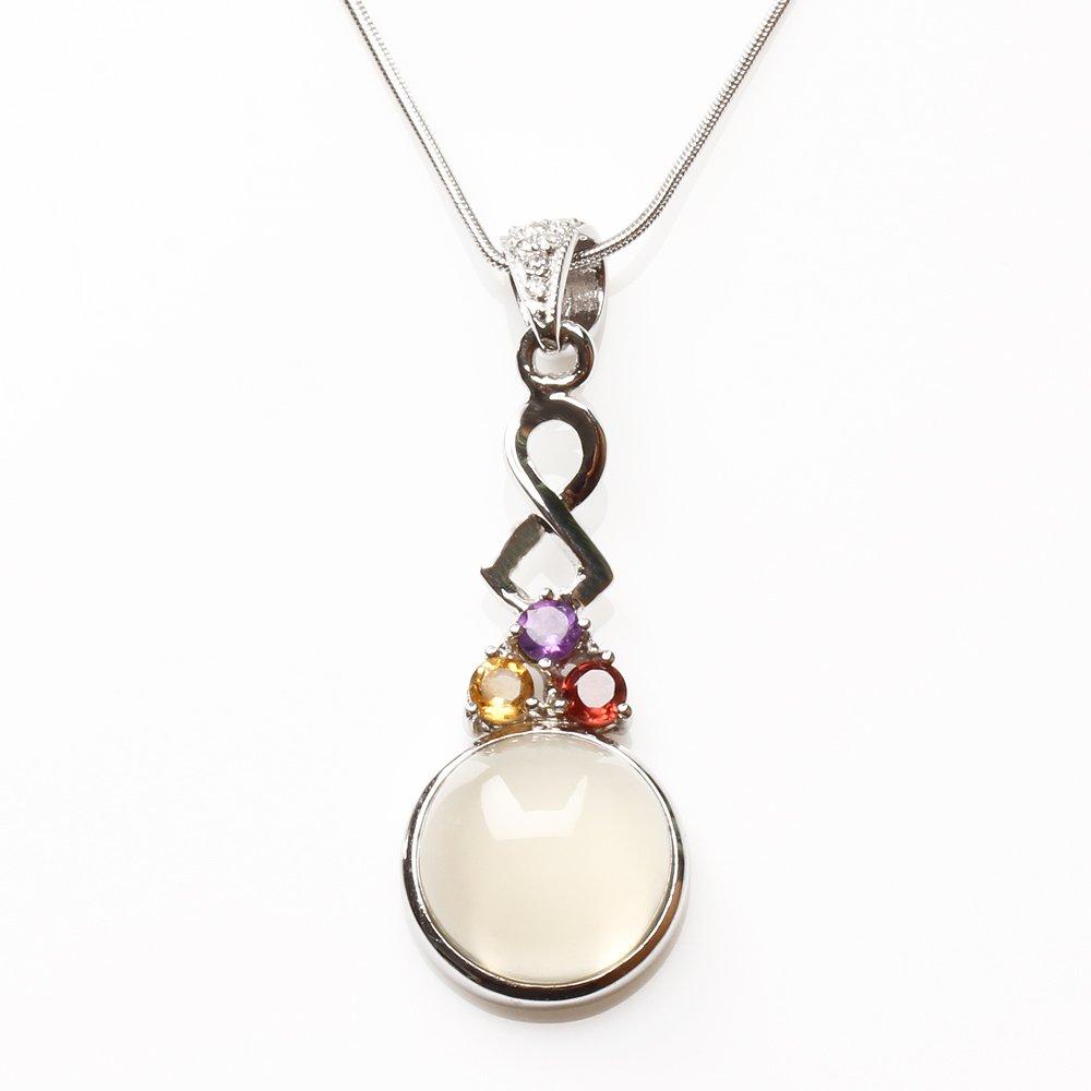 【雅紅珠寶】天然月光石項鍊-925銀飾-清耳悅心