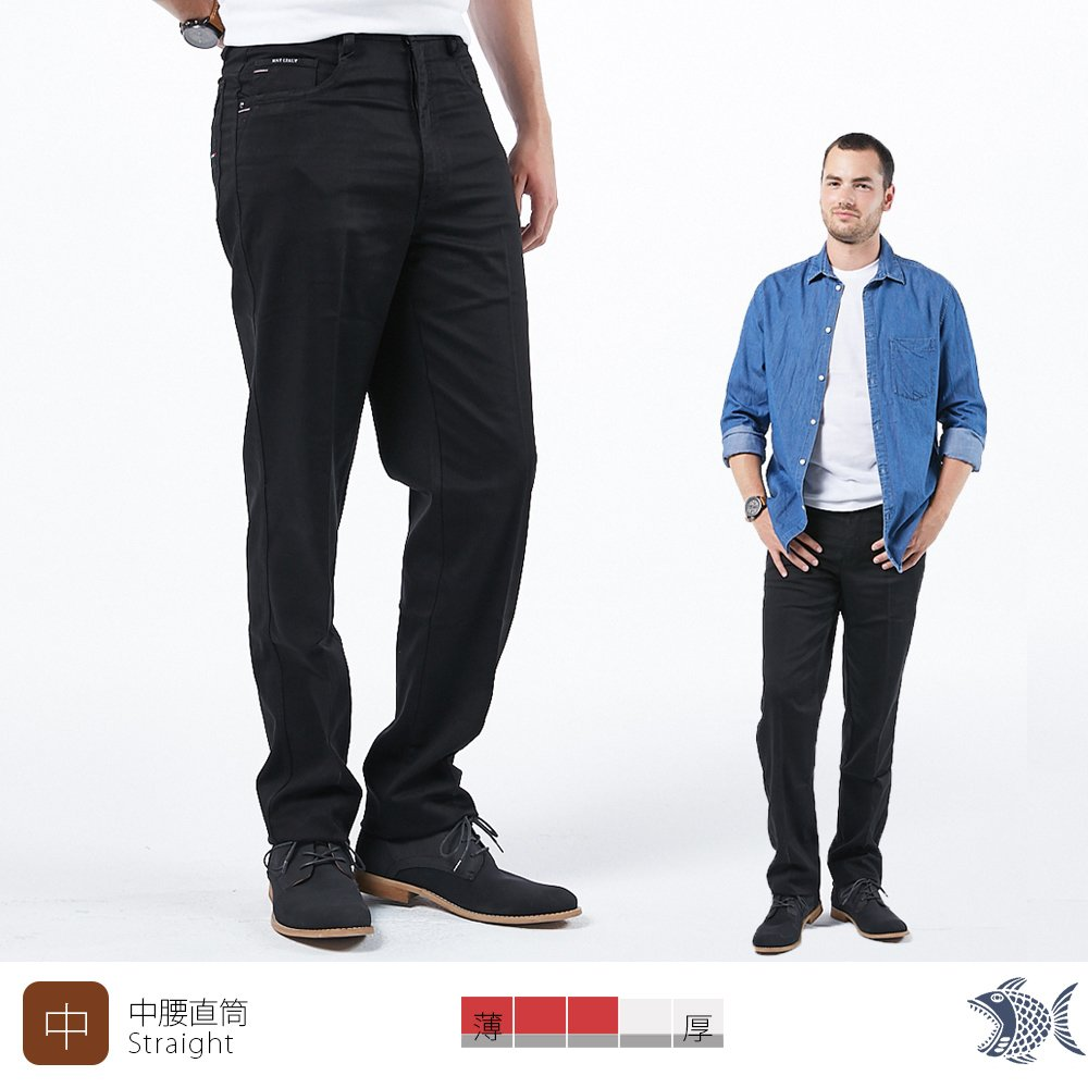 【NST Jeans】秋冬黑橡果 純棉彈性黑色休閒男褲(中腰) 390(5777)