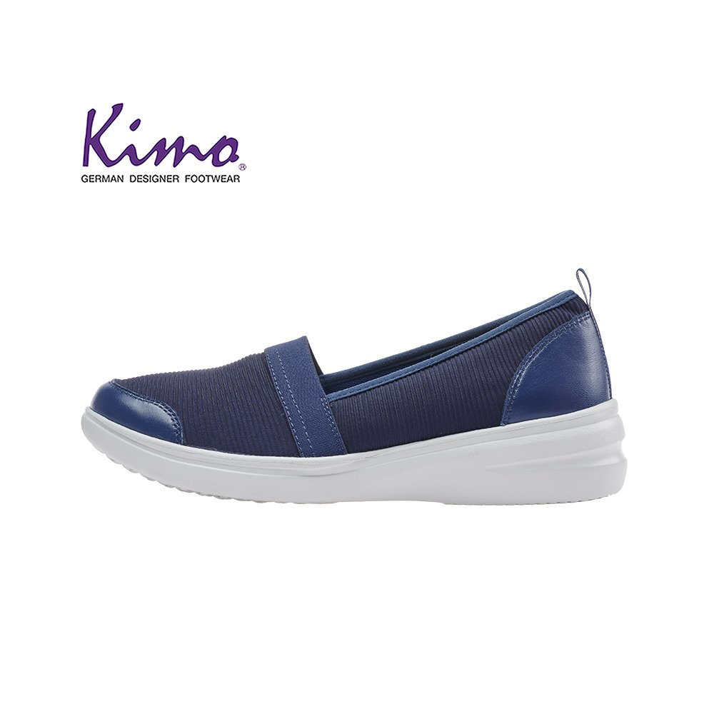Kimo 超彈力好穿脫柔軟羊皮運動風懶人平底休閒鞋(活力藍KAIWF071026)