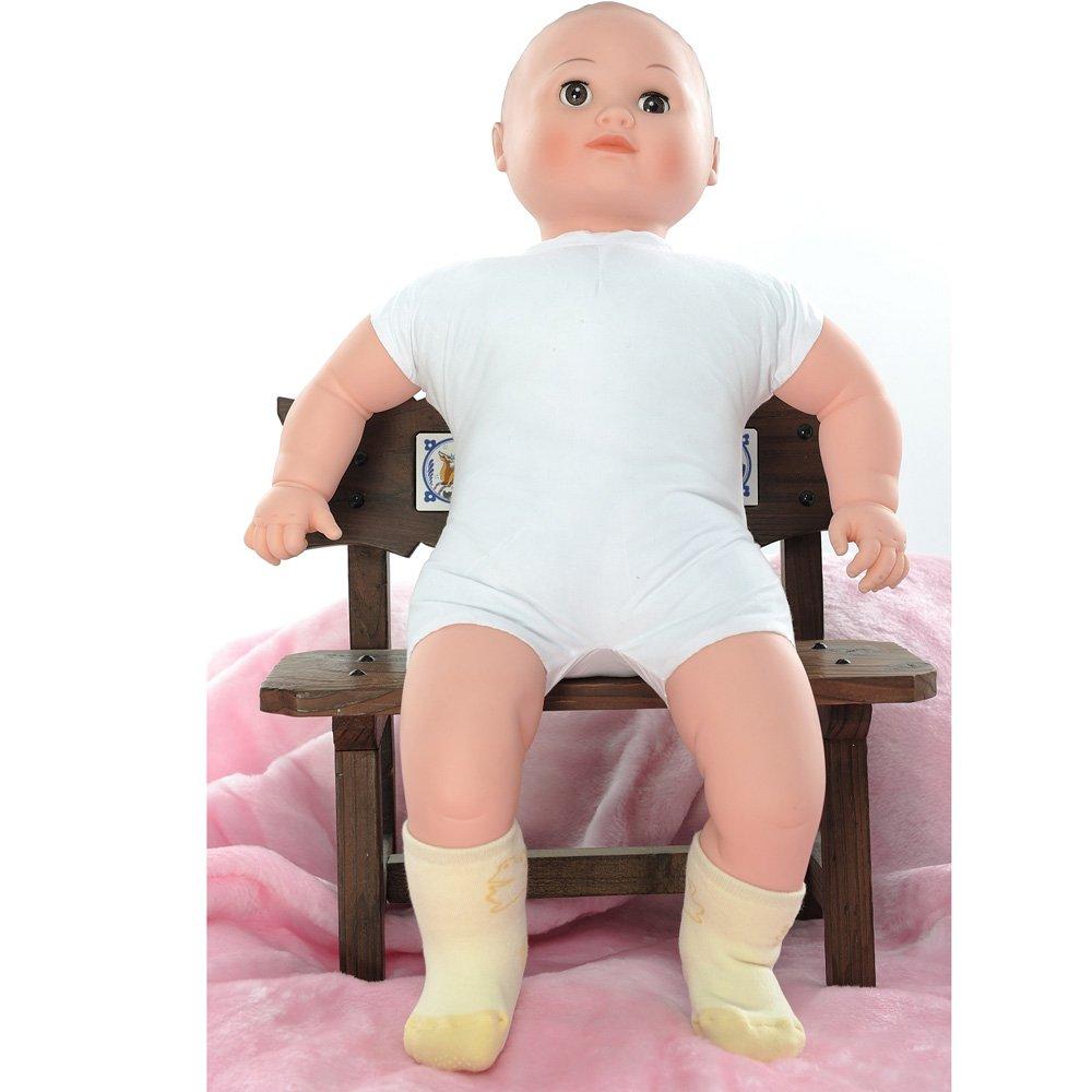 【KEROPPA】可諾帕MIT0~6個月嬰兒厚底止滑短襪x3雙(淺黃配黃)95001-B