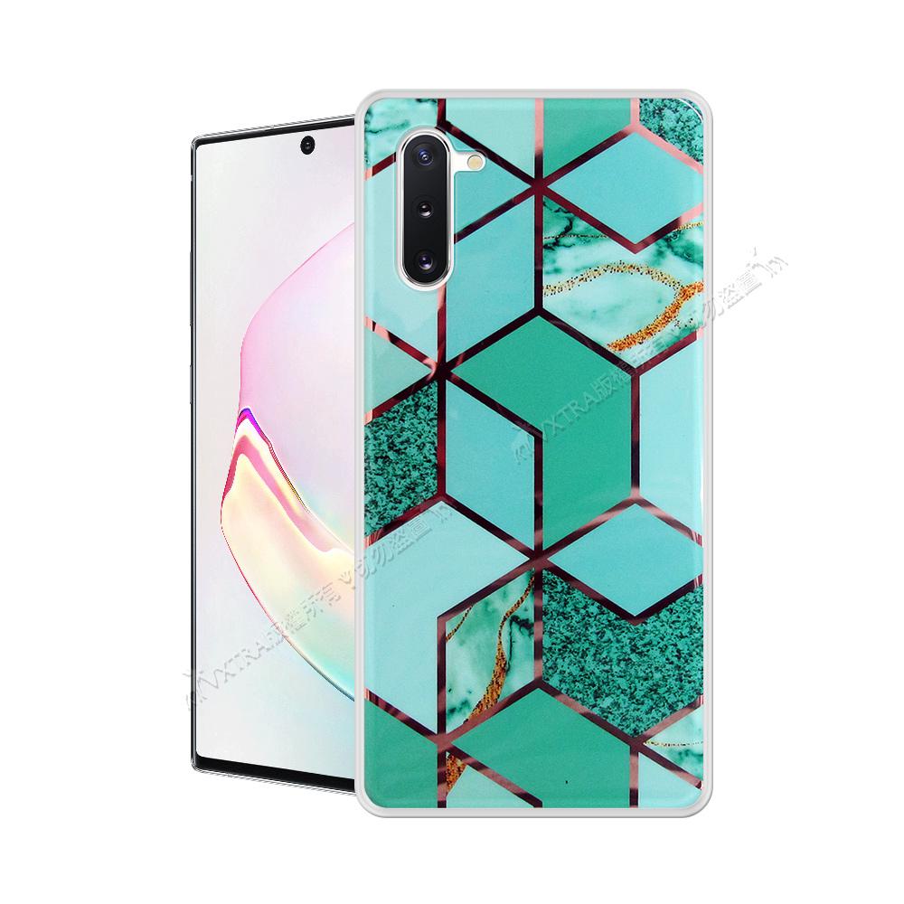 VXTRA 燙金拼接 三星 Samsung Galaxy Note10 大理石幾何手機殼 保護殼(翡翠綠) 有吊飾孔