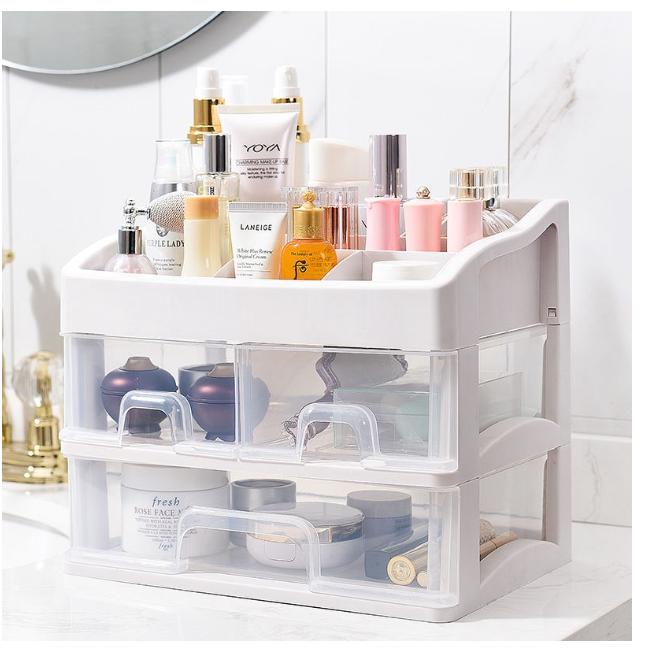 桌面化妆品收纳盒抽屉塑料置物架大号透明梳妆台首饰收纳盒整理盒 收納神器