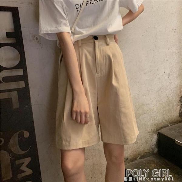 工裝五分褲女夏季薄款寬鬆BF風休閒短褲復古高腰寬管褲學生中褲潮 夏季新品