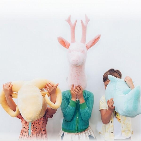 18park-wild & soft 抽象犀牛頭掛飾(絲絨綠) [毛料,抽象犀牛頭掛飾(絲絨綠)]