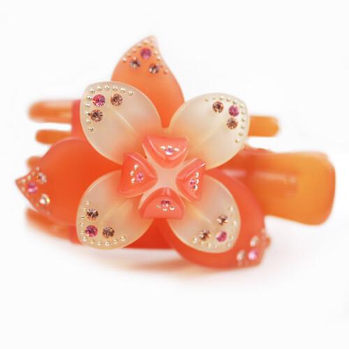 粉紅堂 髮飾牡羊座美少女 洛神花花朵水鑽抓夾 橘色
