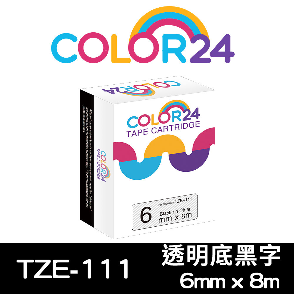 color 24for brother tze-111 (寬度6mm) 透明底黑字相容標籤帶