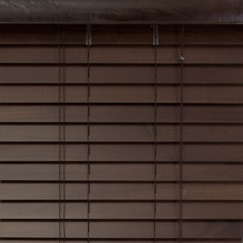 Basswood 50mm Traditional Shutter Style Window Venetian Blinds, Mocha, 150*137