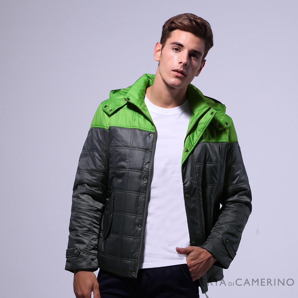 ROBERTA諾貝達 進口素材 可拆帽 內裡鋪棉 防潑水夾克外套 灰綠