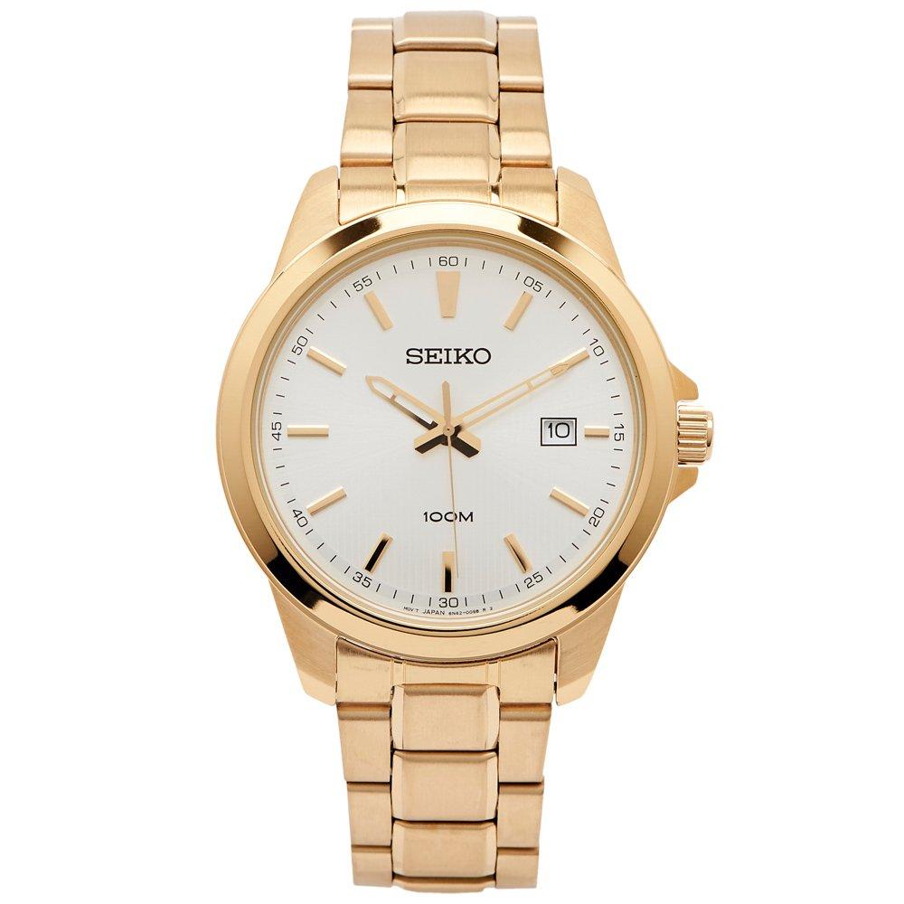 SEIKO 雅致時尚款男性手錶(SUR158P1)-銀白面X金色/42mm