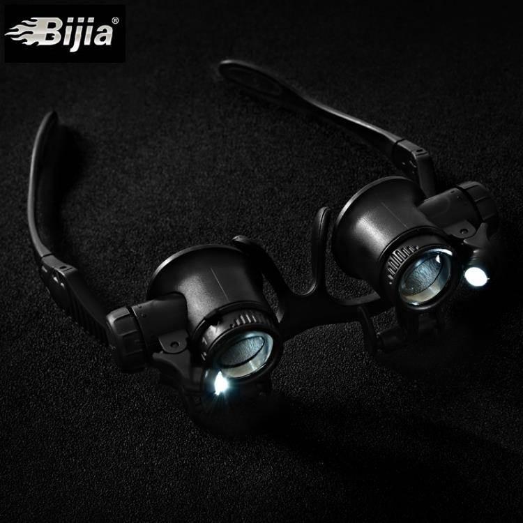 放大鏡 雙目頭戴眼鏡式放大鏡10倍15倍20倍25倍眼罩帶LED燈修表古董鑒定 【】