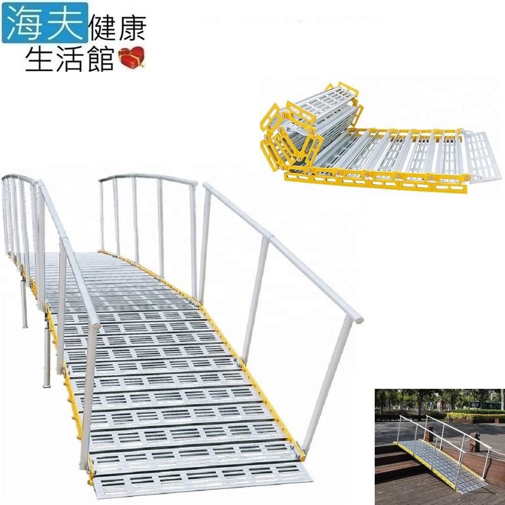 【海夫健康生活館】斜坡板專家 捲疊全幅式斜坡板 附雙側扶手 長150x寬76公分(R76150A)